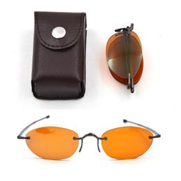 a31e34770fa Women Luxury Brand Designer Folding Sunglasses Men Foldable Rimless  Spectacles Rimless Sun Glasses Send With Leather Case