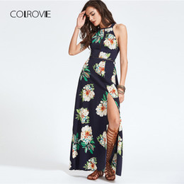 COLROVIE Halter Laser-cut Bow Tie Backless Slit Dress 2018 New Sleeveless  Halter Floral Woman Dress Summer Backless Knot 49e9edb06ef9