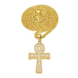 $enCountryForm.capitalKeyWord UK - Hip Hop Men Jewelry Stainless Steel Gold-Color Life Key Ankh Egypt Diamond Cross Chain Male Pendant Necklace