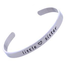 1245f727071 Stainless Steel Silver Little Sister Love Heart Cuff Bracelet Bangle Best  Friend Jewelry Women Gifts Friendship New Cute