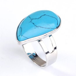 Rings Kraft-beads Silver Plated Resizable Blue Turqoises Stone Spinner Ring Water Drop Ring For Party Jewelry