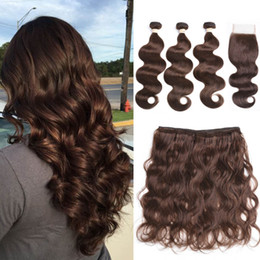 China Brazilian Pre-Colored Human Hair Weave with 4*4 Closure 3 Bundles with Closure 2# 4# Natural Color Brazilian Body Wave Human Hair supplier natural colored hair weave suppliers
