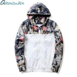 197ba1dd904 Grandwish Floral Bomber Jacket Men Hip Hop Slim Fit Flowers Pilot Bomber  Jacket Coat Men s Hooded Jackets Plus Size 4XL