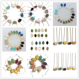 Wholesale Fashion Kendra Druzy Drusy Necklace Scott Earrings Silver Gold Plated Faux Natural stone Scott Women Brand Jewelry