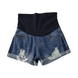 Ролл подол разорвал отверстие промывают джинсовые шорты для беременных летняя мода живота короткие джинсы для беременных тонкая беременность горячая на Распродаже