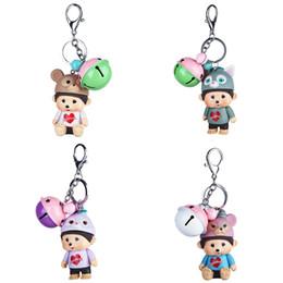 $enCountryForm.capitalKeyWord Australia - QIYIGE Creative Cartoon Doll Cute Monchichi Keychain Charm Jewelry Pendants Plastic Bell Keyrings Car Key chains