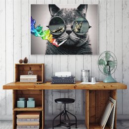 Hippie art online shopping - Hippie Cat with Sunglass Smoking Handpainted HD Print Abstract Animal Art oil painting On High Quality Canvas Home Decor Wall Arta85