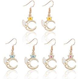 29f761fe8 Moon wings online shopping - Cute Cartoon Hollow Moon Angel Wings Earrings  For Women Kawaii Gold