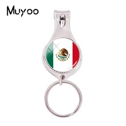 $enCountryForm.capitalKeyWord UK - 2018 Fashion Flag Of Mexico Multifunctional Keychain Silver Glass Nail Clipper Keyring Art Photo Jewelry Nail Clippers