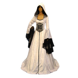 Vintage Woman Costume Australia - Medieval Hooded Long Dresses Women Halloween Costume 2018 Lace Up Waist Slim Lace Ruffle Sleeve Party Vintage White Swing Dress