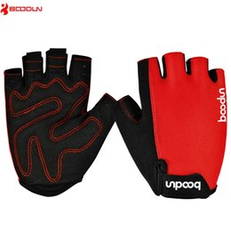 Wholesale red half slips resale online - Boondun Bike Gloves Half Finger Bicycle Equipment for Men and Women Cycling Gym Gloves Black Red Pad Non Slip Gym Fitness Parkour Gloves