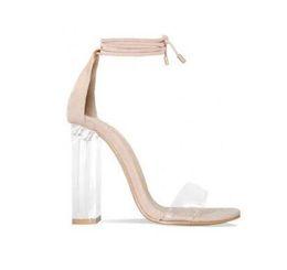 $enCountryForm.capitalKeyWord UK - Pink Nude Faux Suede High Heels Women Sandals Transparent PVC Ankle Strap Women Pumps Lace-Up Clear Block Heels Shoes