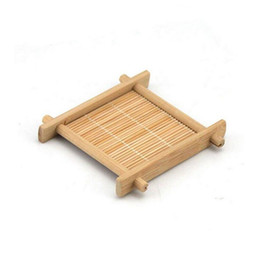 kung fu stick UK - 200pcs lot Mini Handmade Bamboo Cup Mat Kung Fu Tea Accessories Table Placemats Coaster Drinks Kitchen Product Mug Pads ZA4378