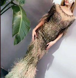 $enCountryForm.capitalKeyWord NZ - Evening dress Yousef aijasmi Long dress Short sleeve Scoop Feather Beaded Mermaid Zuhair murad Kim kardashian