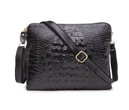 Genuine Alligator Leather NZ - New Genuine leather high quality women shoulder crossbody messenger bags lady cow leather Alligator casual evening clutchs black red purple