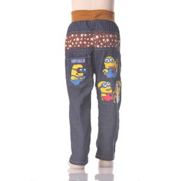 Chinese  Kids 2017 Fashion Minion Clothes Girl Boys Jeans For Children Slim Casual Pants manufacturers