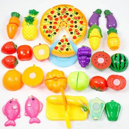 $enCountryForm.capitalKeyWord Australia - Hot 24 pcs Plastic Kitchen Toys Cutting Fruit Vegetable Pizza Pretend Play miniature Kids baby early education toys