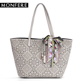 Scarf Shops Australia - MONFER large fashion TOTE bucket TOP-HANDLE Bags for women 2017 hollow out floral print casual shopping beach bag scarf handbag
