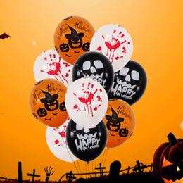Round Skull NZ - Wholesale Black Round Skull Latex Printed Pumpkin Balloon Orange Dumpkin Ballons For Halloween Party Decoration Child Favor