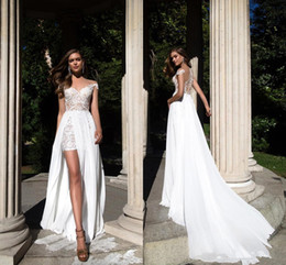 Discount lace country plus size wedding dress - 2018 Sheer Cap Sleeves Chiffon Sheath Wedding Dresses Lace Applique Split Summer Beach Cheap Country Plus Size Wedding B
