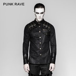 79ac95e52c2c61 PUNK RAVE New Men's Clothing Gothic Heavy Metal Punk Shoulder Slight  Elastic Little Lapel Bold Zipper Long Sleeve Shirt