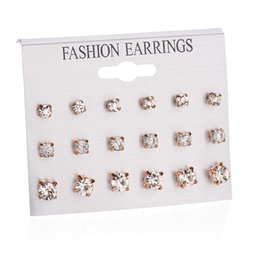 Earrings Korean Wholesalers NZ - 18 pcs of card korean crystal earings women and mens gold diamond earrings fashion anti allergy stud earring wholesale
