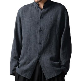 Discount broadcloth cotton - S-3XL Casual Man Cotton Single Breasted Shirts Long Sleeve Solid Stand Collar Plus Size Fit Long Chinese Style Top Shirt