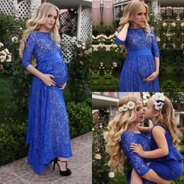 Robes de soirée rustiques Full Lace pour les femmes enceintes Blue Jewel Longueur de cheville Élégant Prom Robes de soirée formelles avec demi-manche Uk Plus Size Outfit