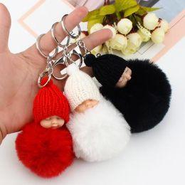 Sweet Fluffy Pompom Sleeping Baby Key Chain Faux Rabbit Fur Pom pon Knitted  Hat Baby Doll Keychain Car Keyring Toy Trendy Gifts 545b8c97d6eb