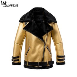 d64787d9352 Fashion Metal Gold Faux Leather Suede Coats Winter Women Casual Zipper Shearling  Motorcycle Thicken Warm Fur Integrated Jackets