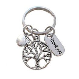 $enCountryForm.capitalKeyWord UK - wholesale 10pcs lot Thank you key chain life tree apple charm pendant key ring for teacher jewelry gift