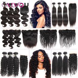 Cheap human hair weave brown online shopping - Cheap Brazilian Virgin Hair Lace Frontal Bundles a Grade Peruvian Human Hair Extensions Deep Wave Curly Hair Weaves Closure with Bundles