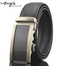 leather ratchet belt NZ - ZAYG Men Alloy Automatic Ratchet Buckle Belt Cow Genuine Leather Men Belt luxury Fashion Business Buckle Black classic