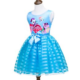 pony girl cartoon UK - Hot Sale Baby Girl Dress Children Girl Pony Dresses Cartoon Princess Party Costume Kids Clothes Summer sleeveless Clothing
