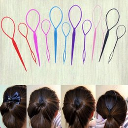 $enCountryForm.capitalKeyWord NZ - 2Pcs HOT Fashion Women Ladies Girls Black Topsy Tail Hair Braid Ponytail Maker Styling Tool Hair Accessory