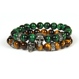 $enCountryForm.capitalKeyWord Canada - Brand New Silver Stainless Steel Skull Bracelet Wholesale 10pcs lot Not Fade Beaded Bracelets With 8mm Natural Tiger Eye Stone