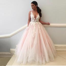 Longo Elegante Vestido de Noite 2018 V Neck 3D Flores Rendas Apliques Rosa Prom Vestido Mulheres Formal Pary Vestidos de Noite Robe De Soiree em Promoção