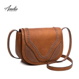 amelie bag 2019 - AMELIE GALANTI crossbody shoulder bags for women causal hollow weaving saddle handbags flap solid soft high quality PU l
