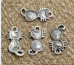 Cute Cat Charms online shopping - 30pcs cat Charms Antique silver tone Sided cute cat Charm Pendants x21mm