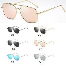 SunglaSSeS aviator gold mirror online shopping - Double bridge cat eye metal sunglasses women men gold rose sunglass square frame sun glasses aviator retro fashion sunglasses