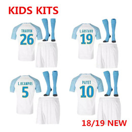 7ab59ef4a 2019 Olympique de Marseille soccer jersey kid kit with socks 18 19 Ligue  Correct version SHIRT PAYET thauvin L.gustavo boys shirts Sets