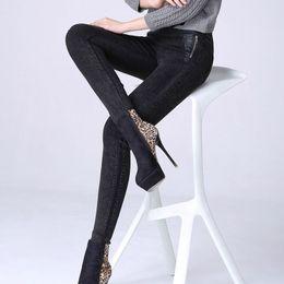 $enCountryForm.capitalKeyWord Canada - 1pcs Women Plus size pencil jeans 2018 Spring cotton zipper splicing Slim fit Black Jeans Ladies skinny pencil denim pants girls