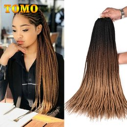 "Synthetic Braiding Hair Blonde Australia - TOMO Crochet Braids 24"" Long handmade Box Braids Ombre Black Brown Blonde African American Synthetic Braiding Hair Extensions 22strands pack"
