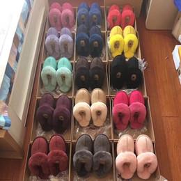 Discount woman costume boots - Unisex UG Winter Fur Slippers Men Women Short Boots Designer Indoor Suede Sandals Ladies Snow Boots Designer Leather Boo