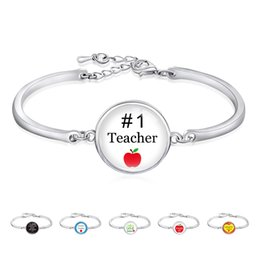 Christmas Birthday Gifts Silver Plated Open Bangle Unicorn Jesus Love To Teach Science Kindergarten Teachers Bracelet For Women