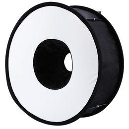 Toptan satış Canon Nikon Sony Pentax Godox flaş için Lightdow 45cm Katlanabilir Halka Speedlite Flaş Yayıcı Makro Çekim Yuvarlak softbox