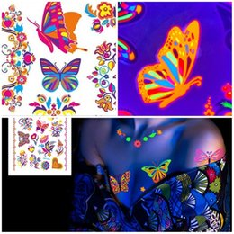 Discount hand butterfly art - Women DIY Body Art Tattoo Luminous Butterfly Temporary Tattoo Sticker Fluorescent Waterproof Tattoo Supplies Body Makeup