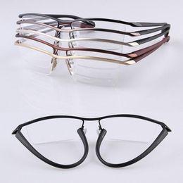 ec65f4ddc9 TR90 Fexible Half Rimless Eyeglass Frames Men Women lightweight Myopia Rx  able Glasses P   8218