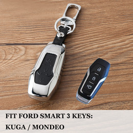 $enCountryForm.capitalKeyWord Australia - Car styling Zinc+Leather Remote 3 Buttons Smart car protection key case cover shell For Ford Mondeo 2.0T Edge Car accessories