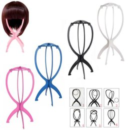 Discount plastic wig cap - Hot Sale Wig Stands Folding Stable Plastic Hat Cap Display Durable Wig Stand Tool Hair Accessories Black Pink Colour
